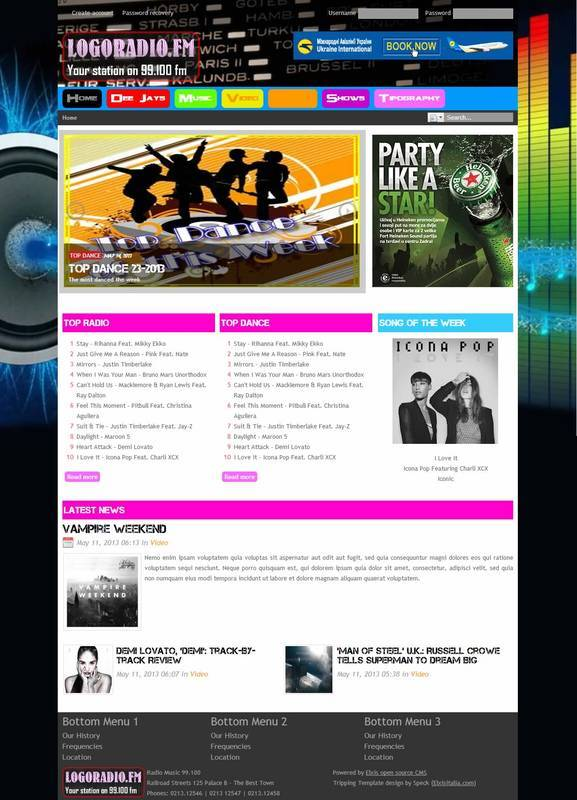 Radio Music template - template for radio stations and music